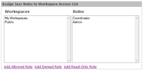 Figure 1: Assign Jazz Roles to Workspace Access List